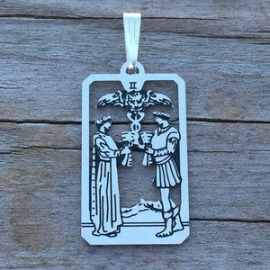 Two of Cups Tarot Card Pendant Sterling Silver